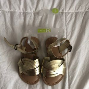 New Crazy 8 size 5 Gold Sandals